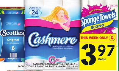 Cashmere Bathroom Tissue Double Or Sponge Towels Econo Or Scotties Facial Tissues