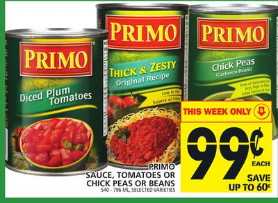 Primo Sauce - Tomatoes Or Chick Peas Or Beans