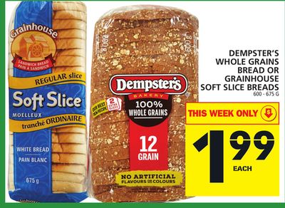 Dempster's Whole Grains Bread Or Grainhouse Soft Slice Breads