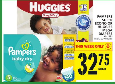 Pampers Super Econo Or Huggies Mega Diapers