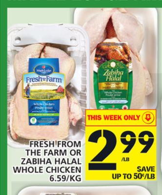 Fresh From The Farm Or Zabiha Halal Whole Chicken