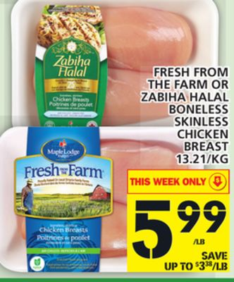 Fresh From The Farm Or Zabiha Halal Boneless Skinless Chicken Breast