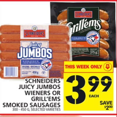 Schneiders Juicy Jumbos Wieners Or Grill'ems Smoked Sausages