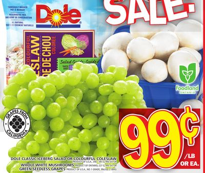 Dole Classic Iceberg Salad Or Colourful Coleslaw Or Whole White Mushrooms Or Green Seedless Grapes