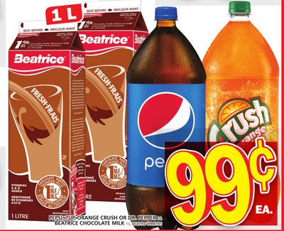 Pepsi - 7up - Orange Crush Or Dr. Pepper Or Beatrice Chocolate Milk