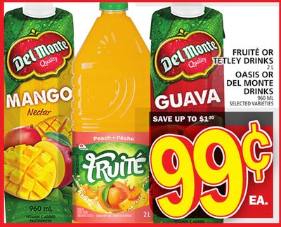 Fruité Or Tetley Drinks Or Oasis Or Del Monte Drinks
