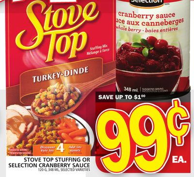 Stove Top Stuffing Or Selection Cranberry Sauce