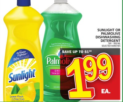 Sunlight Or Palmolive Dishwashing Detergent