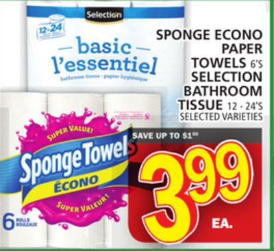 Sponge Econo Paper Towels Or Selection Bathroom Tissue