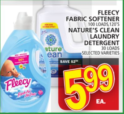 Fleecy Fabric Softener Or Nature's Clean Laundry Detergent 30 Loads