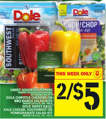 Sweet Assorted Peppers Or Dole Chipotle Cheddar Or Bbq Ranch Salad Kits Or Kale Caesar - Southwest Or Pomegranate Salad Kit