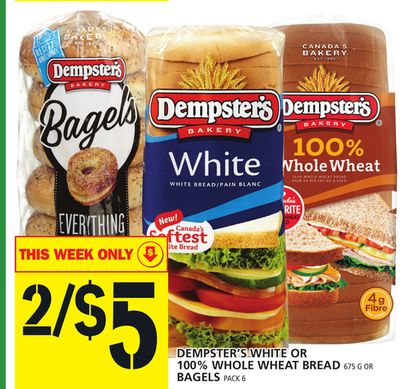 Dempster's White Or 100% Whole Wheat Bread Or Bagels