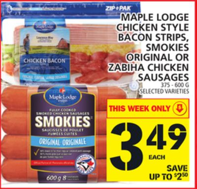 Maple Lodge Chicken Style Bacon Strips - Smokies Original Or Zabiha Chicken Sausages