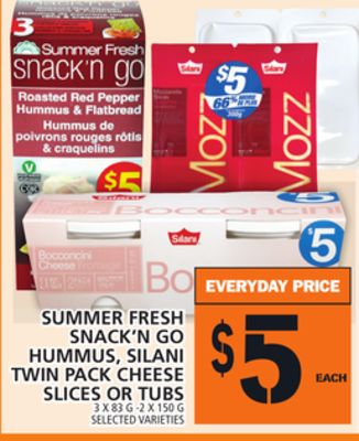 Summer Fresh Snack'n Go Hummus - Silani Twin Pack Cheese Slices Or Tubs