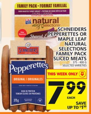 Schneiders Pepperettes Or Maple Leaf Natural Selections Family Pack Sliced Meats