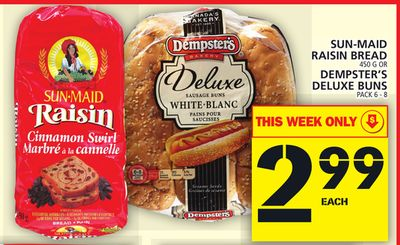 Sun-maid Raisin Bread Or Dempster's Deluxe Buns