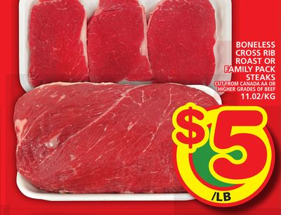 Boneless Cross Rib Roast Or Family Pack Steaks