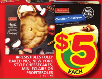 Irresistibles Fully Baked Pies - New York Style Cheesecakes - Mini ÉClairs Or Profiteroles