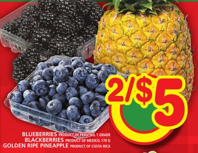 Blueberries Or Blackberries Or Golden Ripe Pineapple