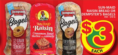 Sun-maid Raisin Bread Or Dempster's Bagels