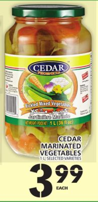 Cedar Marinated Vegetables