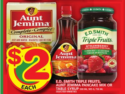 E.d. Smith Triple Fruits - Aunt Jemima Pancake Mix Or Table Syrup