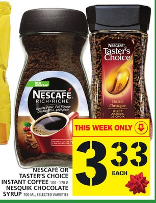 Nescafé Or Taster's Choice Instant Coffee Or Nesquik Chocolate Syrup