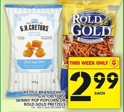 Kettle Brand Chips - Gh. Cretors - Skinny Pop Popcorn Or Rold Gold Pretzels
