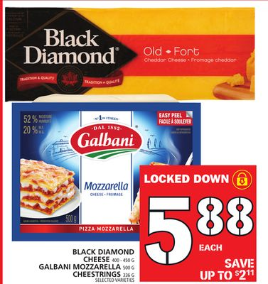 Black Diamond Cheese Or Galbani Mozzarella Or Cheestrings