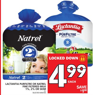 Lactantia Purfiltre Or Natrel Fine Filtered Milk 1% - 2% Or Skim