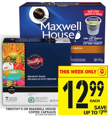 Timothy's Or Maxwell House Coffee Capsules