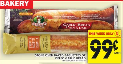 Stone Oven Baked Baguettes Or Deleo Garlic Bread