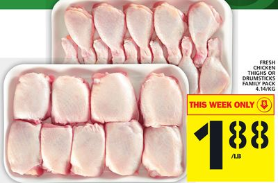 Fresh Chicken Thighs Or Drumsticks Family Pack