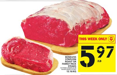 Boneless Striploin Roast Or Family Pack Steaks