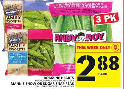 Romaine Hearts Or Mann's Snow Or Sugar Snap Peas