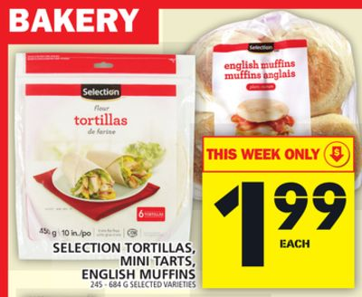 Selection Tortillas - Mini Tarts - English Muffins