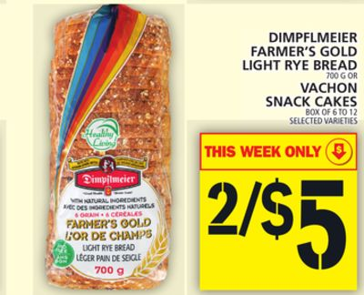 Dimpflmeier Farmer's Gold Light Rye Bread Or Vachon Snack Cakes