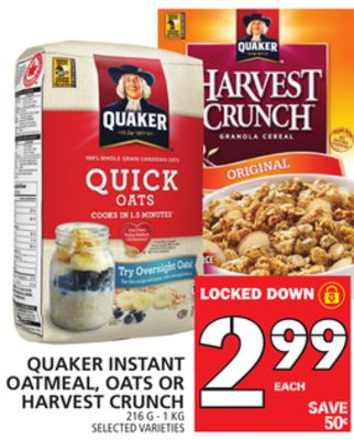 Quaker Instant Oatmeal - Oats Or Harvest Crunch