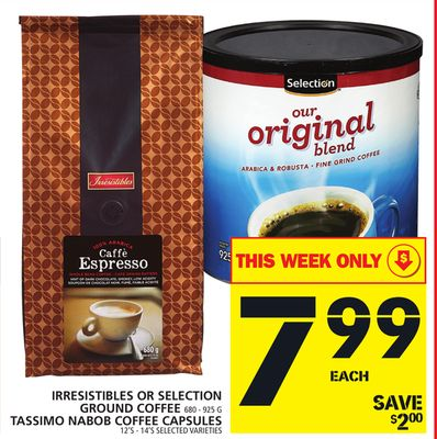 Irresistibles Or Selection Ground Coffee Or Tassimo Nabob Coffee Capsules