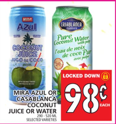 Mira Azul Or Casablanca Coconut Juice Or Water