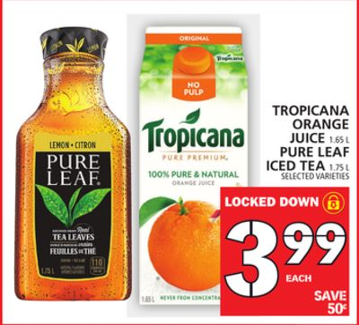 Tropicana Orange Juice Or Pure Leaf Iced Tea