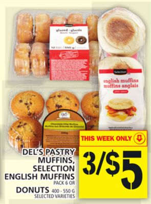 Del's Pastry Muffins - Selection English Muffins Or Donuts