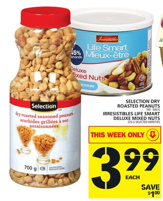Selection Dry Roasted Peanuts Or Irresistibles Life Smart Deluxe Mixed Nuts