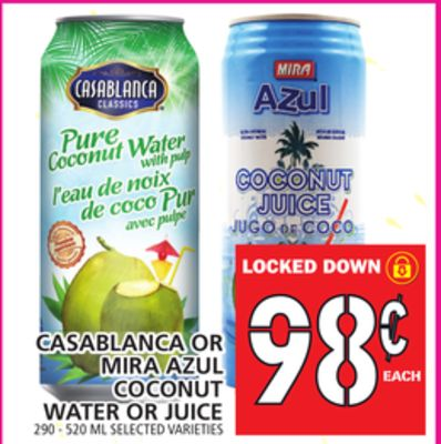 Casablanca Or Mira Azul Coconut Water Or Juice