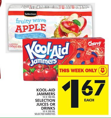 Kool-aid Jammers Or Selection Juices Or Drinks
