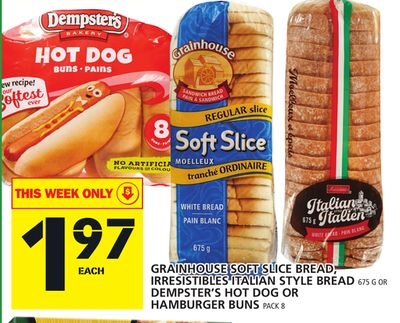 Grainhouse Soft Slice Bread - Irresistibles Italian Style Bread Or Dempster's Hot Dog Or Hamburger Buns Pack