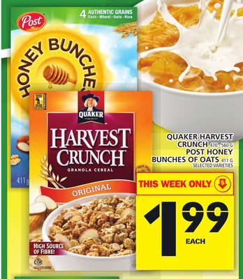 Quaker Harvest Crunch Or Post Honey Bunches Of Oats