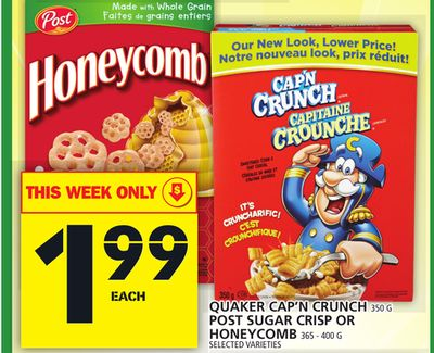 Quaker Cap'n Crunch Or Post Sugar Crisp Or Honeycomb