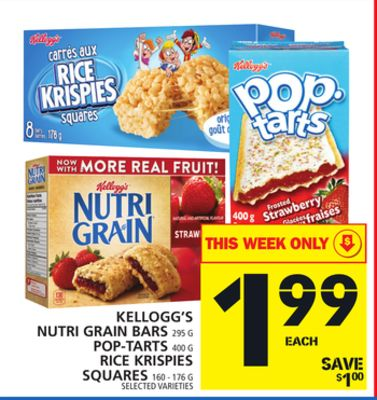 Kellogg's Nutri Grain Bars Or Pop-tarts Or Rice Krispies Squares
