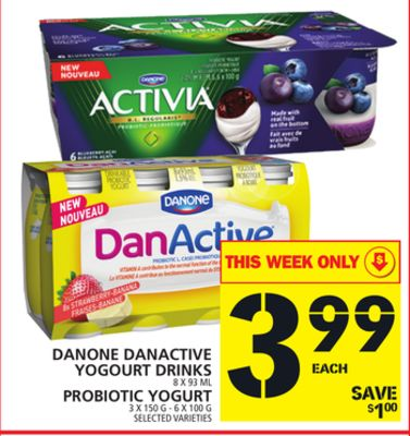 Danone Danactive Yogourt Drinks Or Probiotic Yogurt